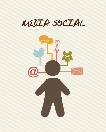 communication concept: media social with communication icons. vector illustration