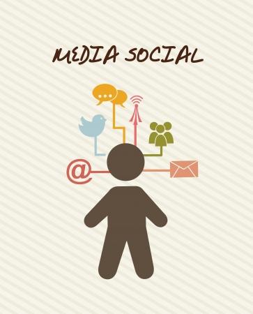 komunikacja: Social media w komunikacji ikon. ilustracji wektorowych