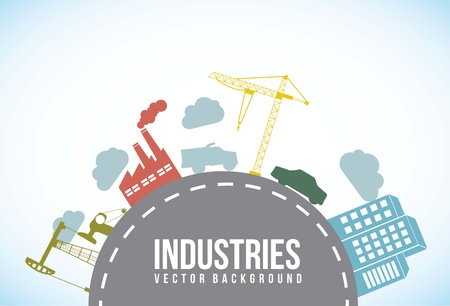 areas: industries over street, vintage style. vector illutration Illustration