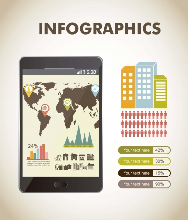 increasing: infographics over beige backgrond, vintage style. vector