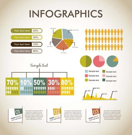 infographics over beige backgrond, vintage style. vector