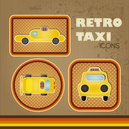 Retro Taxi Icons with vintage background, vector illustration Stock Vector - 16703415