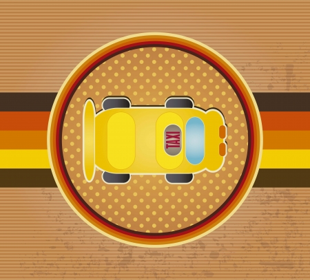 Taxi circle icon with vintage background, vector illustration Vector
