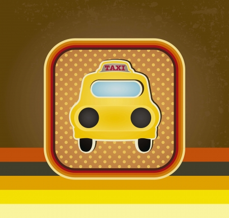 Taxi icon with retro lines background vector illustration