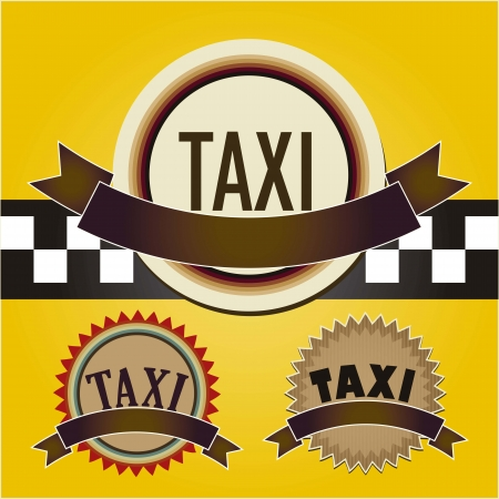 Circle taxi icon, with  chequered pattern  background Stock Vector - 16702879