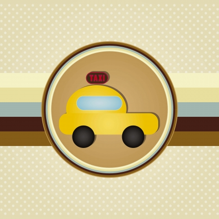 Circle taxi icon, with retro lines  background Vector