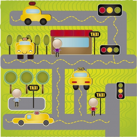 streets and taxis with people. vector illustration Vector