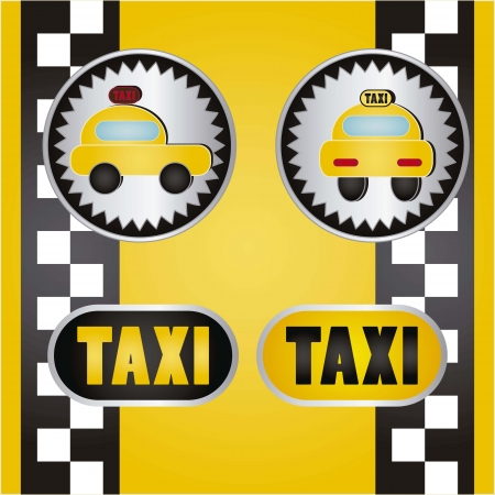 Round taxi icons with yellow background vector illustration Vector