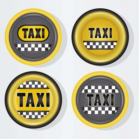Circle taxi icon, with grey background vector illustration Vector
