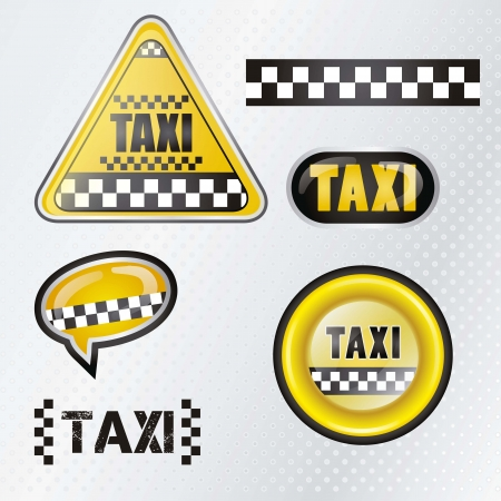 Taxi cab set symbols with silver background , vector illustration Vector