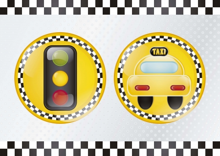 Circle taxi icon, with silver background vector illustration Vector