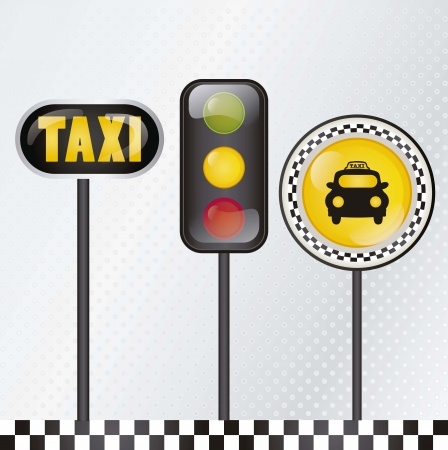 yellow cab: Taxi icon, with silver background vector illustration