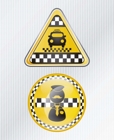 Circle and triangle taxi icon, with silver background vector illustration Vector
