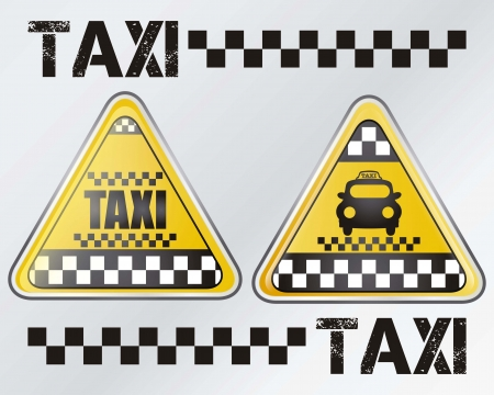 Taxi sign set, with silver background vector illustration Vector