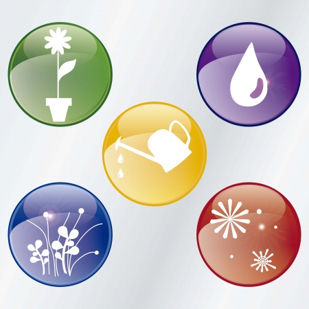 colorful seasons Icons set with silver background, Stock Vector - 16703284