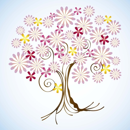 Seasons tree with rose flowers vector illustration Stock Vector - 16702905
