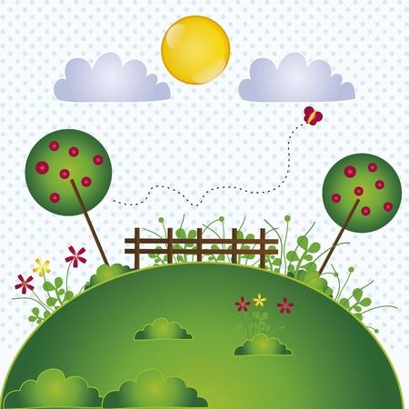 spring landscape with butterflies vintage background, vector illustration Stock Vector - 16702803