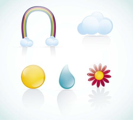 Seasons Icons set, glass effect vector illustration Stock Vector - 16702950