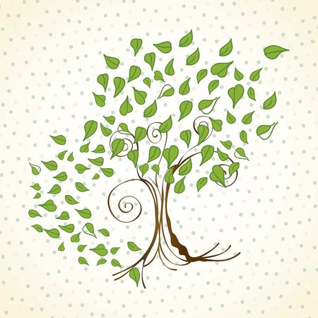 silhouette arbre hiver: Spring tree avec bachground feuilles vintage, illustration vectorielle