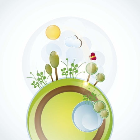 planet with spring landscape, all the seasons vector illustration  Stock Vector - 16703510