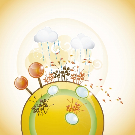 planet with autumn landscape, all the seasons vector illustration Stock Vector - 16703508
