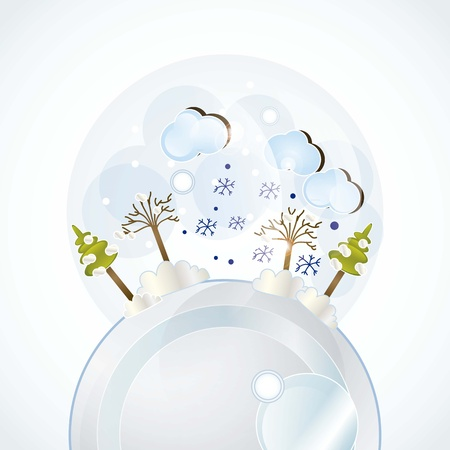 planet with winter landscape, all the seasons vector illustration Stock Vector - 16703000