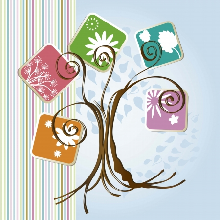 Season tree with icons leaves vintage bachground, vector illustration Stock Vector - 16702644