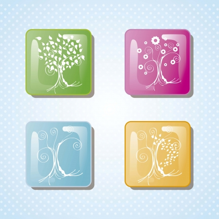 Season trees with leaves vintage bachground, vector illustration Stock Vector - 16703288
