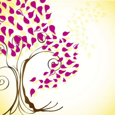 Season tree with fuchsia leaves vintage background, vector illustration Stock Vector - 16702761