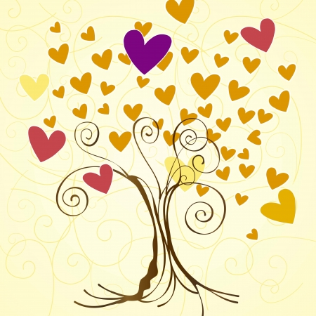 Season trees with hearts leaves vintage background, vector illustration Stock Vector - 16702763