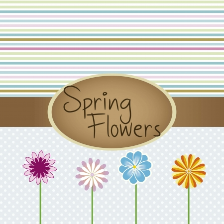 different colored flowers on stripe  background vector illustration Stock Vector - 16702797