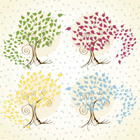 Season trees with leaves vintage background, vector illustration Stock Vector - 16703303