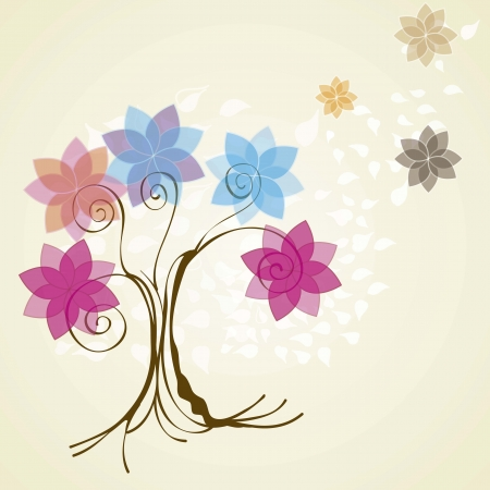 flowers with tree and leaves vintage background, vector illustration Stock Vector - 16703283