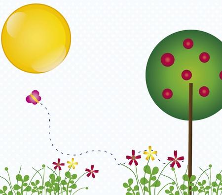 spring landscape with butterflies vintage background, vector illustration Stock Vector - 16702808