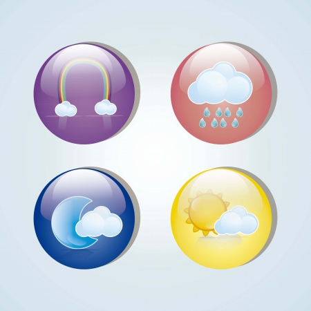 colorful weather icons in glass circles, vector illustration Stock Vector - 16703121