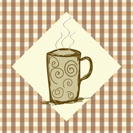 Coffe icon banner with checkered background vector illustration  Vector