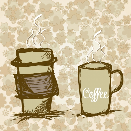 Hot coffee ready to take, on floral background Vector