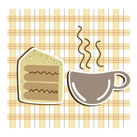 Coffe with piece of cake on checkered background vector illustration Stock Vector - 16702491