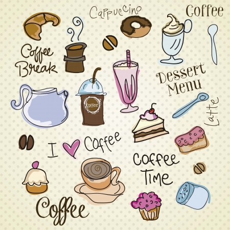 Set of coffee design  elements on vintage background Stock Vector - 16702886