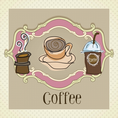 Different types of coffee, on vintage background  Vector