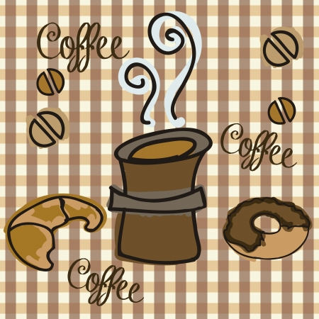 hot coffee for snack on checkered background vector illustration  Vector