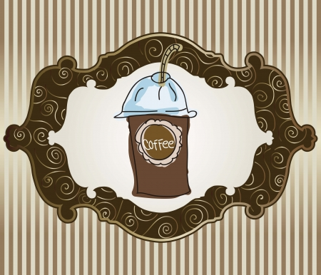 Iced Coffee on stripe background, vector illustration Stock Vector - 16702519