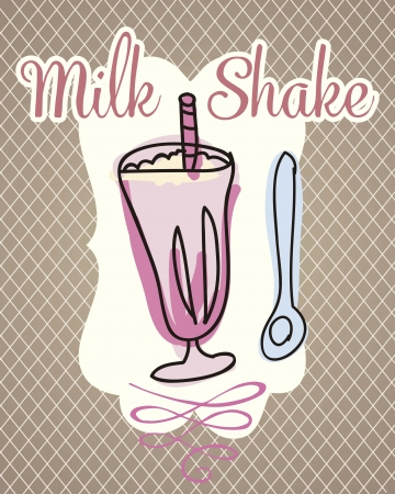indulgence: Milk shake on vintage background, vector illustration  Illustration