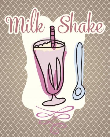 Milk shake on vintage background, vector illustration