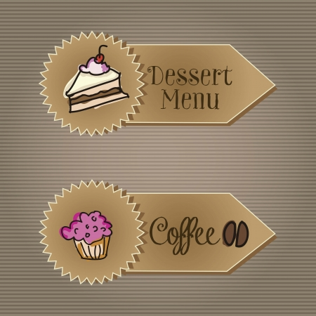 Coffee Icons labels vintage background, vector illustration