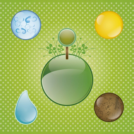 Planet earth surrounded by the elements that sustain life Stock Vector - 16703426