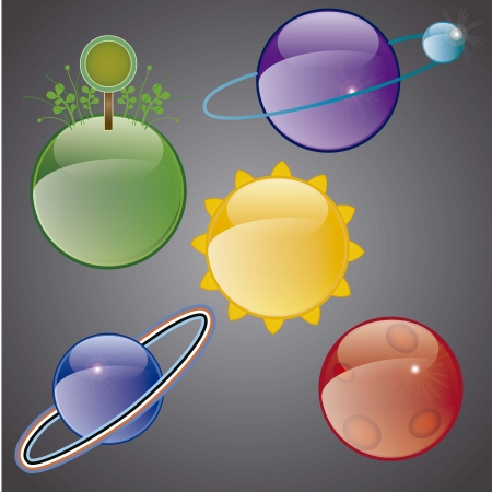 Planet Icons with glass effect vector illustration Vector