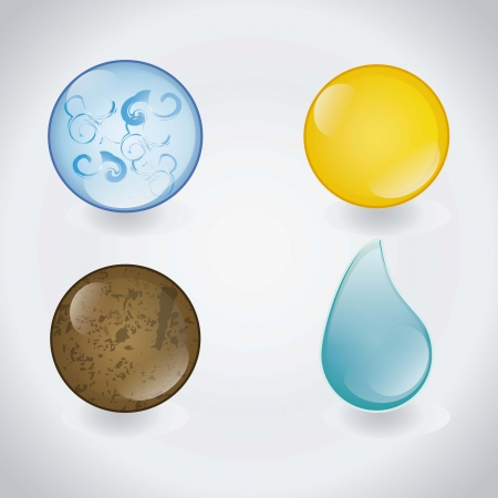 with sets of elements: The four elements in glass balls, vector illustration Illustration