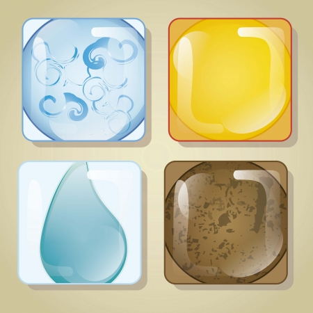 The four elements in glass square, vector illustration Vector