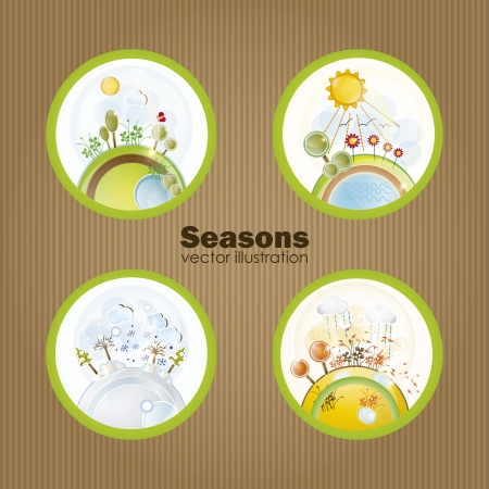 The four seasons in retro balls, vector illustration Stock Vector - 16703428